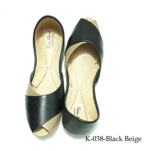Leather Khussa Shoes for Women K-038-Beige Black