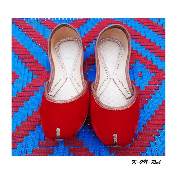 Leather khussa shoes K-091-Red