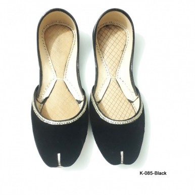 Leather khussa shoes K-085-Black