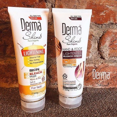 Derma Shine Face,Hand and Foot Bleach Kit - Pack of 1 Face Bleach and 1 Hand and Foot Bleach - 200gm Each Tube
