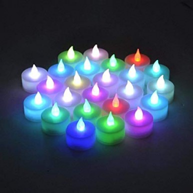 Magic Color Changing Glowing Tea Light Flameless Candles in Multicolors 12 Pieces in Pack