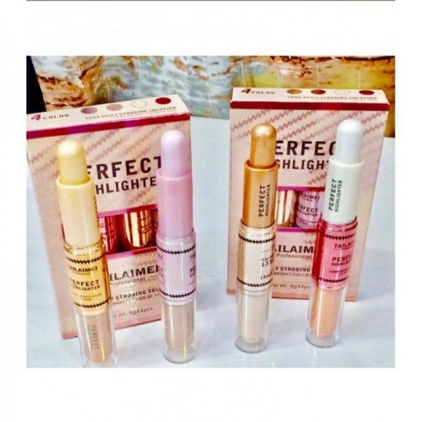 Perfect Highlighter 2 in 1 (Double Sided) for Girls - 4 Pieces in Pack