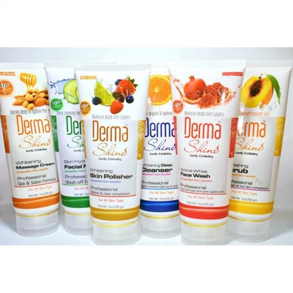 Derma Shine Facial Kit - Pack of 6 Tubes - Cleanser,Scrub,Massage Cream,Facial Mask,Face Wash,Skin Polisher (200gm Each Tube)