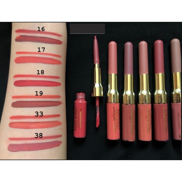 Miss Rose 2 in 1 (Lip Gloss and Lip Liner) for Girls - Pack of 6 glosses