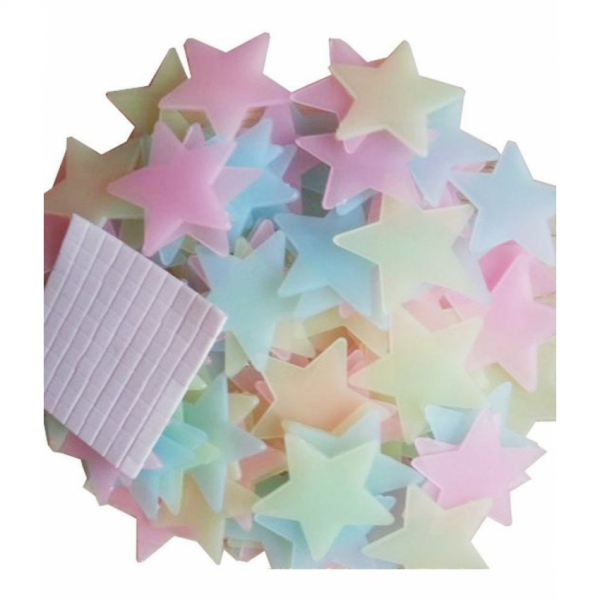 3D Stars Glow in Darkness for Decoration of Kids Room Wall and Ceiling - Pack of 100 Pieces