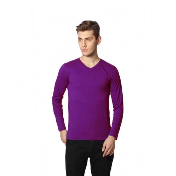 Purple Color Full Sleeves V neck Tshirt