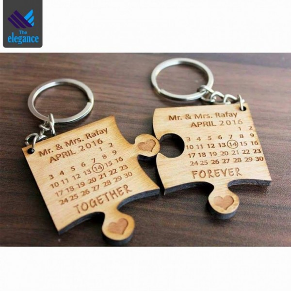 Customized Wooden Calender Keychain