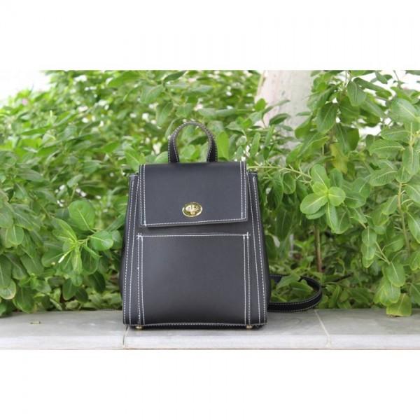 Stylish Black Leather Backpack