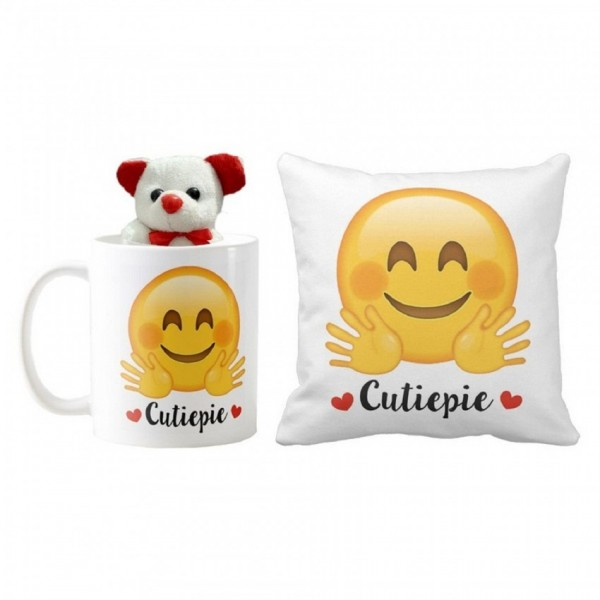 Beautiful Gift Set of Emoji Mug and Pillow with Teddy Bear