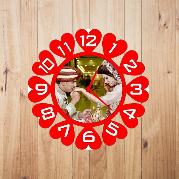 Customized Picture Wall Clock -Red and White