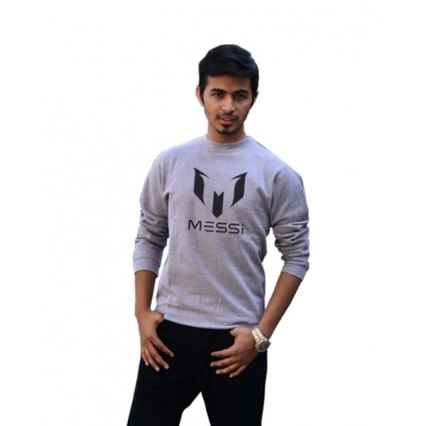 Messi Printed Sweatshirt for Boys in Grey Color