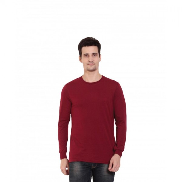 Mens Full Sleeve TShirt Round neck Maroon Color