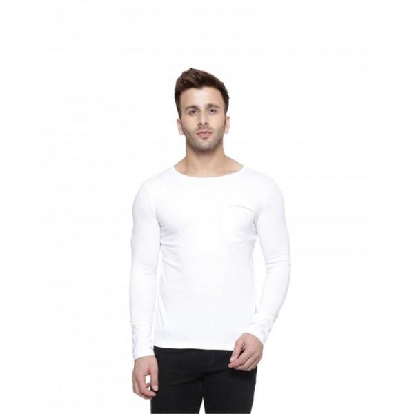 Full Sleeves Round-neck-White Tshirt