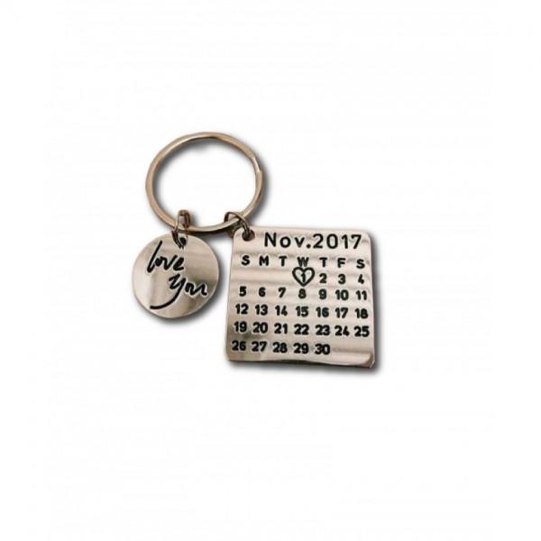 Customized Calendar and Love you Keychain