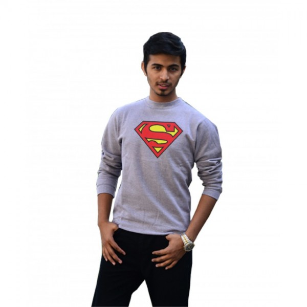 Super Men Sweatshirt for Him in Grey Color