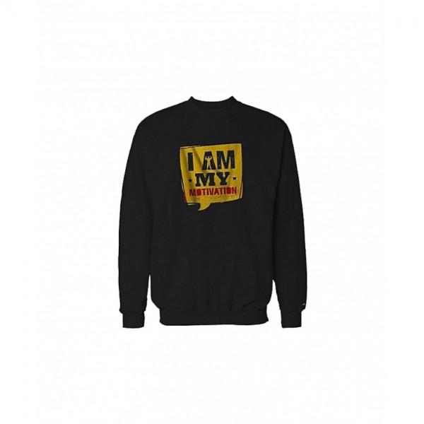 I am My Motivation Printed Sweatshirt in Black Color