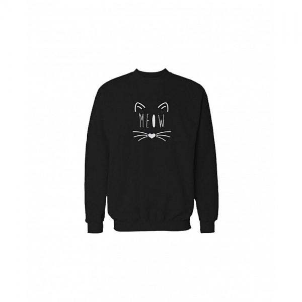 Trendy Meow Sweatshirt Unisex in Black Color