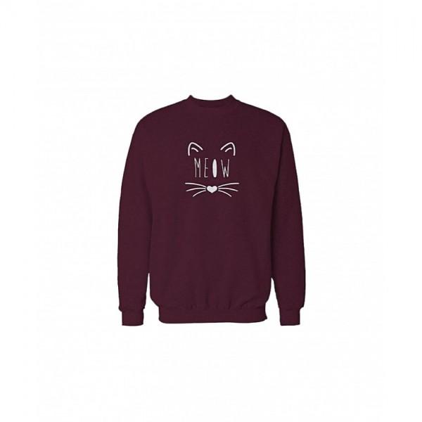Stylish Meow Print Sweatshirt in Maroon Color