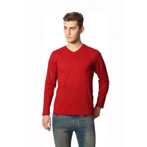Full Sleeves Vneck Maroon Tshirt for Men