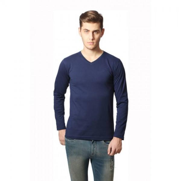 Full Sleeves V-neck Navy-Blue Tshirt
