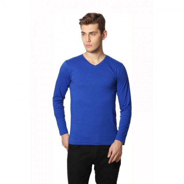 Full Sleeves V-neck-Blue Tshirt