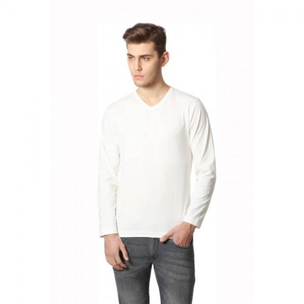 White Color Basic Full Sleeves Vneck Tshirt for Men