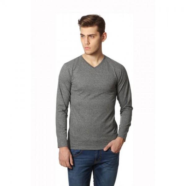 Full Sleeves V neck Grey Color Tshirt for Him