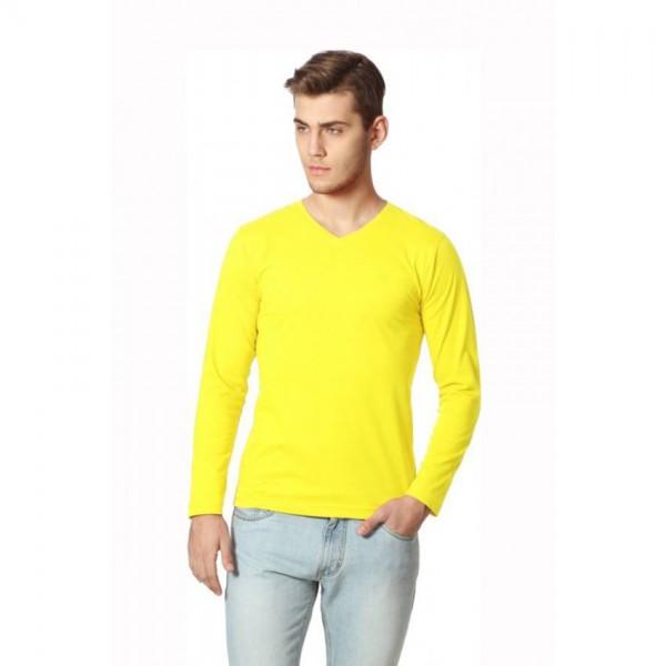 Full Sleeves V-neck-Yellow Color Mens Tshirt