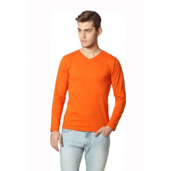 Full Sleeves Vneck Orange Color Tshirt for Men