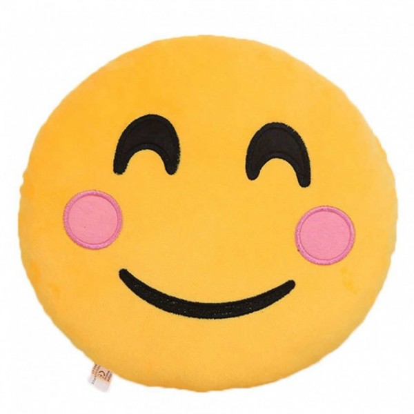 Blushing and Happy Face Emoji Pillow