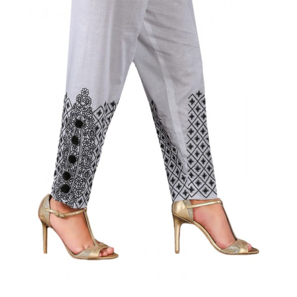 White Embroidered Cigarette Pants For Women