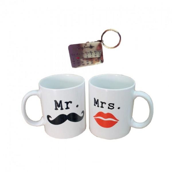 Gift Set of Mr and Mrs Mug Set with Customized Calendar Metal Key-chain