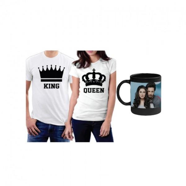 Pack of Couple T shirt and Magic Mug