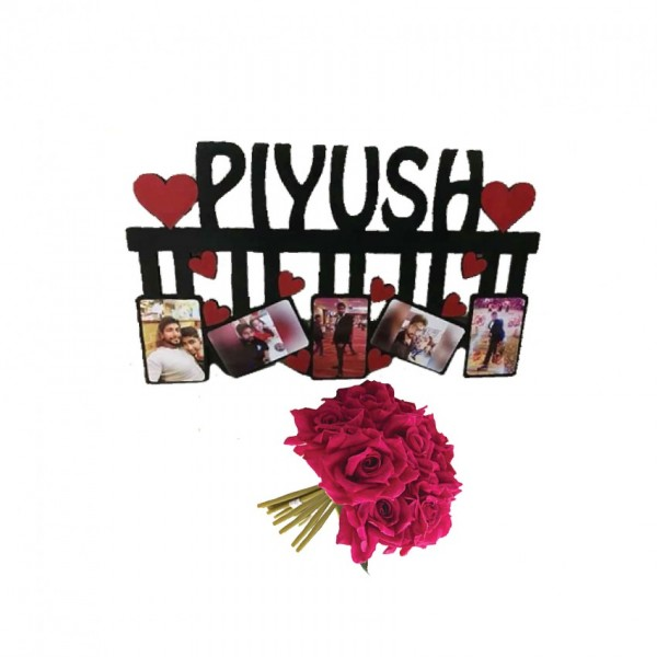 Acrylic Name Frame with a bunch of artificial Red Roses