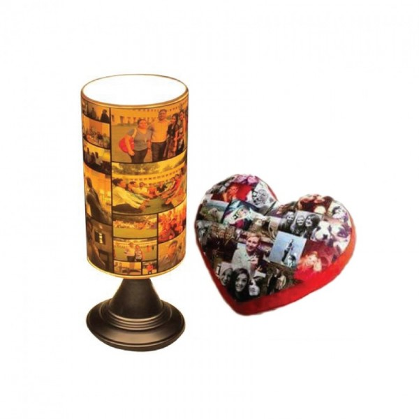 Picture LED Rotating Lamp with Heart Pillow
