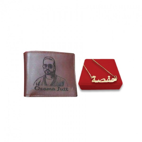 Gift Set of Customized Picture Wallet with Name Necklace
