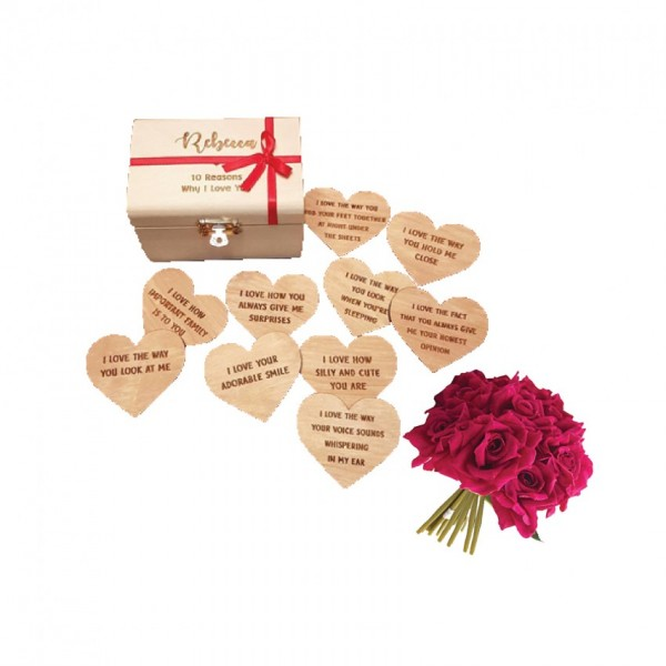 10 Reasons Why I Love You with a bunch of artificial Red Roses