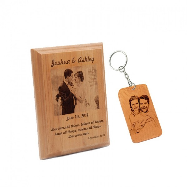 Gift Set of Personalized Wooden frame and Wooden Keychain