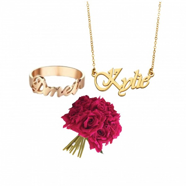 Pack of Customized Name Necklace and Name Ring with a bunch of artificial Red Roses
