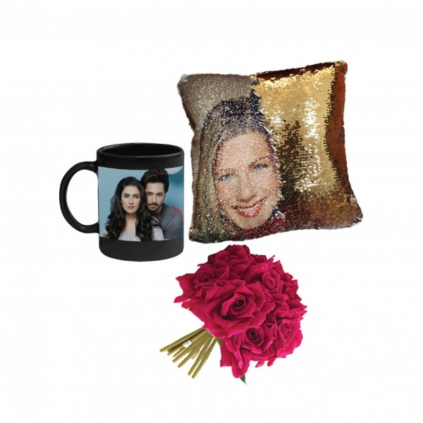 Gift Pack of Picture Magic Mug and Customized Picture Pillow with a bunch of artificial Red Roses