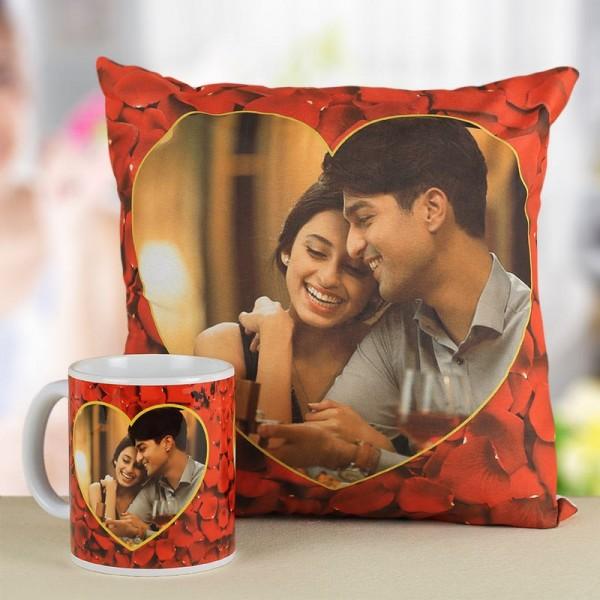 Combo of Customized Picture Cushion and Mug Gift Set