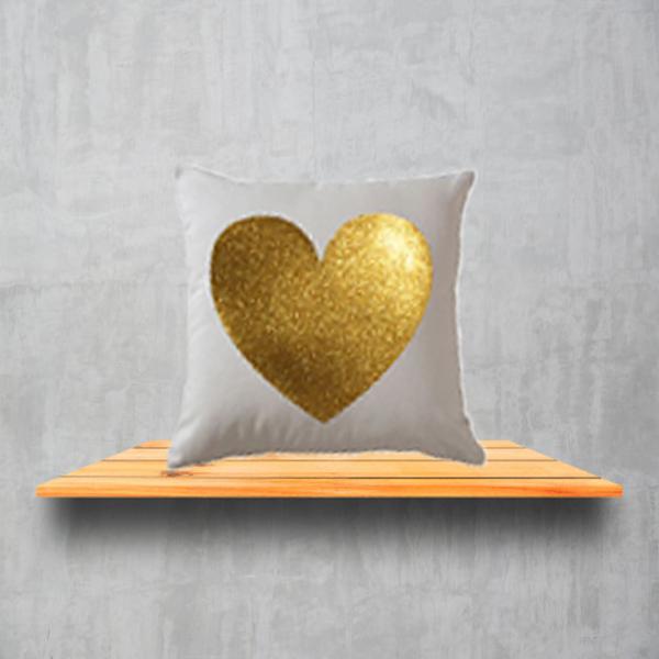White Glitter Heart Cushion