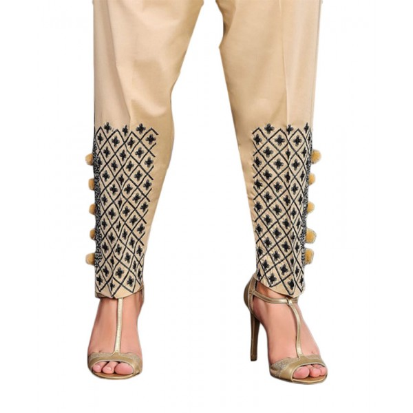 Beige Embroidered Cigarette Pants For Women