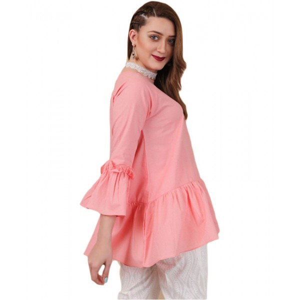 Pink Butterfly Free Sleeve Shirt For Women