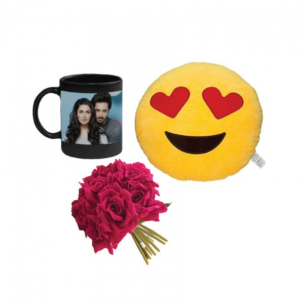 Combo of Emoji Cushion and  Personalized Magic Mug with a bunch of artificial Red Roses