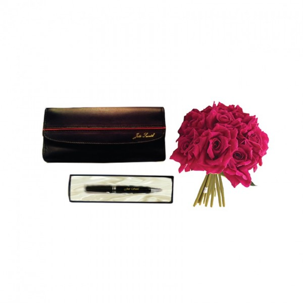 Gift Set of Name wallet and Name Pen with a bouquet of artificial Red Roses