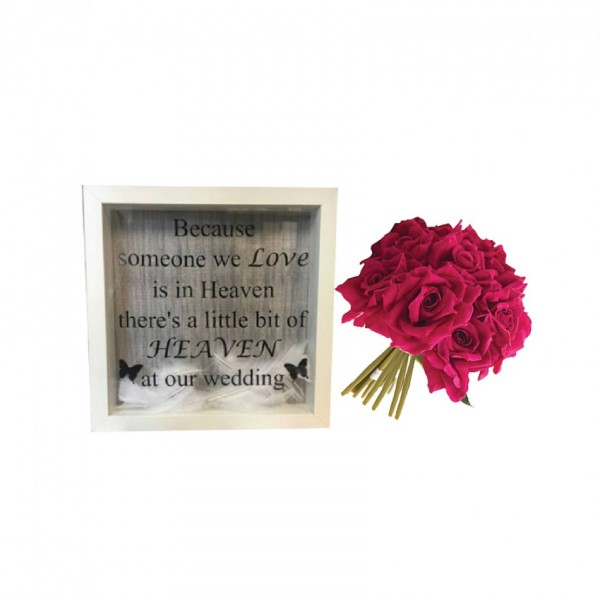 3D Frame with a bunch of artificial Red Roses