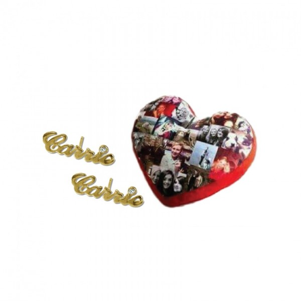 Customized Name Earrings with Picture Collage Heart Pillow