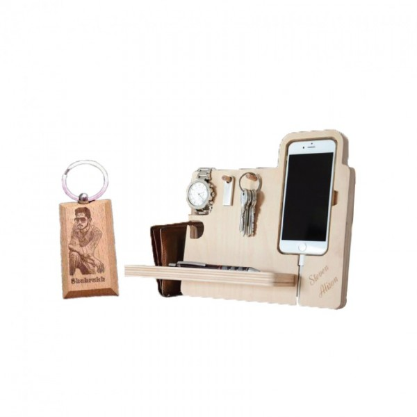 Set of Docking Station and Picture Wooden Key-chain