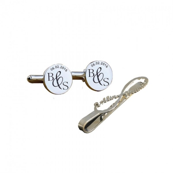 Set of Personalized Cufflinks and Coat Pin